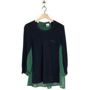 Cabi Get Together Sweater Medium Green Black #3520